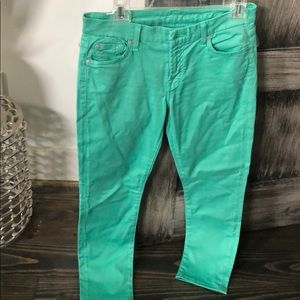 7 for all mankind mint green jeans sz 27 crop